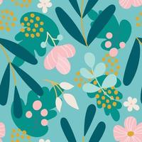 Plants and flowers on a bright background. Vector seamless pattern in flat style for fabric, packaging paper, postcards, wallpaper