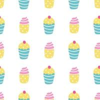 Cupcakes, muffins with cream and berries on a white background. Vector seamless pattern in a flat style