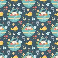 Easter basket with cake, eggs, flowers and chicken. Vector seamless holiday pattern in flat style