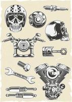 vector, conjunto, de, motocicleta, piezas vector
