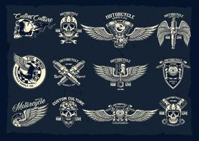vector, conjunto, de, clásico, motocicleta, emblemas vector