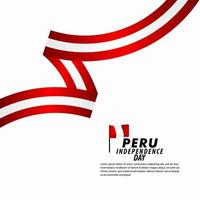 Ilustración de diseño de plantilla de vector de celebración del día de la independencia de Perú