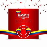 feliz celebración del día de la independencia de venezuela, banner de cinta, ilustración de diseño de plantilla de cartel vector