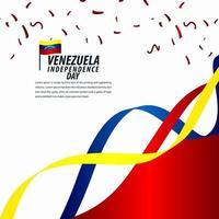 Happy Venezuela Independence Day Celebration, ribbon banner, poster template design illustration vector