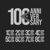 100 Th Anniversary Set Celebration Vector Template Design Illustration