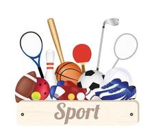 sport wood board with sport equipments vector