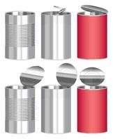 set of cylindrical canning for food vector