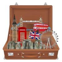 travel bag open with england landmarks inside vector
