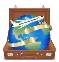 suitcase open with airplane fly around the world vector