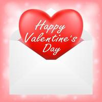 happy valentine day with red heart in envelope vector