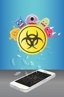 virus infected on broken smartphone vector