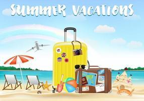 summer vacation with travel bag on sea sand beach vector