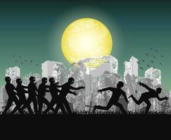 humans running from zombies at night ruined city vector