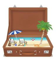 suitcase open with sea and beach scene inside vector