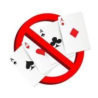 No juegue la señal de prohibición de tarjeta de juego de azar vector