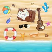 beach travel objects on a sea sand beach vector