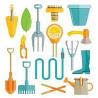 herramientas de jardinería, pala, pala, icono, conjunto vector