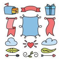 conjunto de elementos de decoración de cinta de boda vector