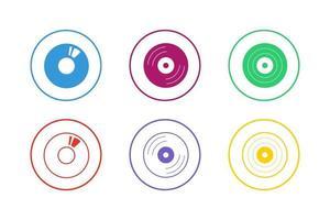 colorido conjunto de iconos de dvd vector