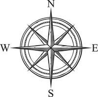 icono de vector de brújula en diseño retro