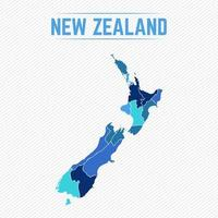 New Zealand Detailed Map With Regions vector