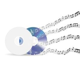 music discs with floating sample random music notes vector