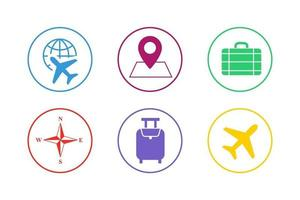 Colorful Travel Icon Set vector