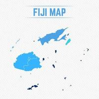Fiji Detailed Map With Regions vector