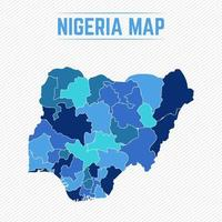Nigeria Detailed Map With Regions vector