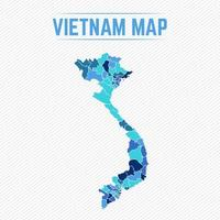 Vietnam Detailed Map With Regions vector