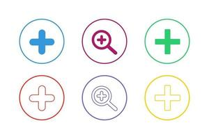 Colorful Zoom In Icon Set vector