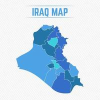 Iraq Detailed Map With Regions vector