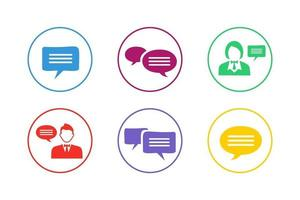 Colorful Discussion Icon Set vector