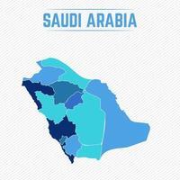 Saudi Arabia Detailed Map With Regions vector