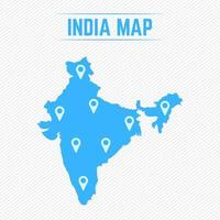 India Simple Map With Map Icons vector