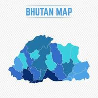 Bhutan Detailed Map With Regions vector
