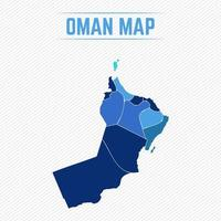 Oman Detailed Map With Regions vector