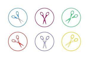 Colorful Scissor Icon Set vector