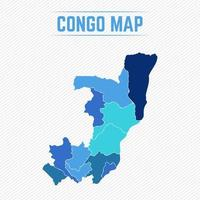 Republic of the Congo Detailed Map With Regions vector