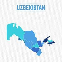 Uzbekistan Detailed Map With Regions vector