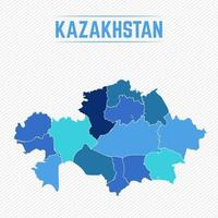 Kazakhstan Detailed Map With Regions vector