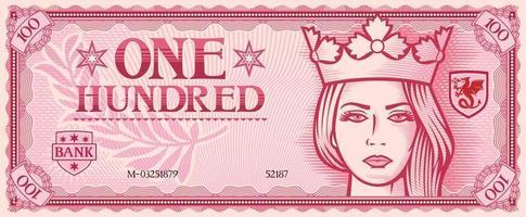 one hundred banknote QUEEN vector