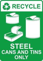 recycle vector sign-steel cans and tins only