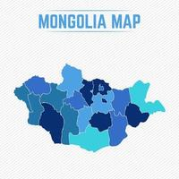 Mongolia Detailed Map With Regions vector