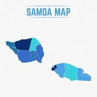 Samoa Detailed Map With Regions vector