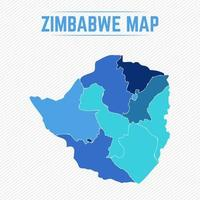 Zimbabwe Detailed Map With Regions vector