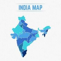 India Detailed Map With Regions vector