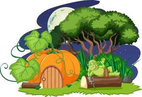 Night scene with goblin or troll cartoon character and pumpkin house vector