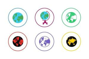 Colorful Earth Icon Set vector