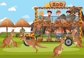 Los niños en el coche turístico viendo grupo de canguros en la escena del zoológico vector